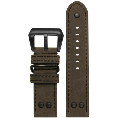 22mm Olive Genuine Vintage Leather MB-1 Pilot Watch Strap | Panatime.com