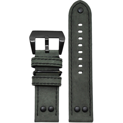 26mm Grey Suede Genuine Vintage Leather MB-1 Pilot Watch Strap | Panatime.com