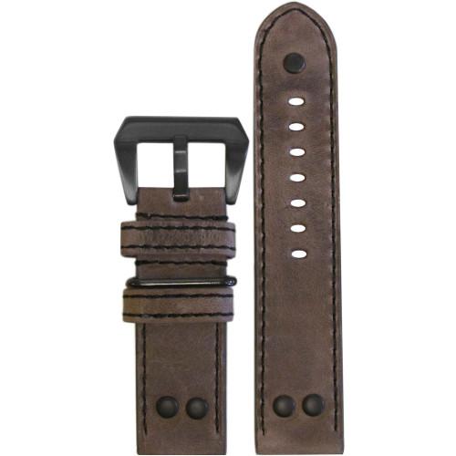 22mm XL Distressed Oak Genuine Vintage Leather MB-1 Pilot Watch Strap | Panatime.com