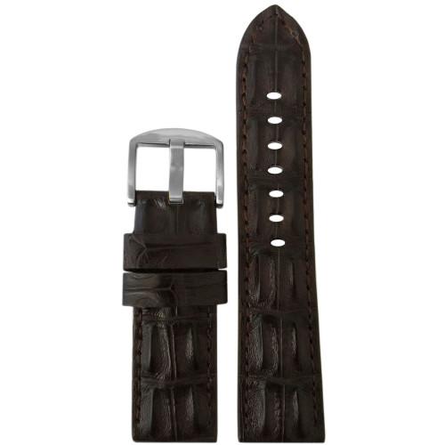 24mm XL Brown Hornback Genuine Alligator Watch Strap with Match Stitching | Panatime.com
