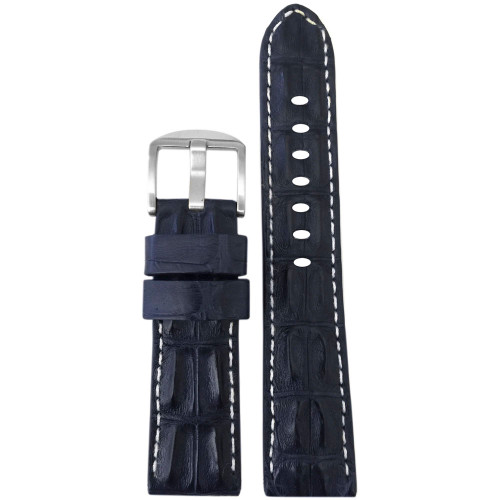 20mm XL Navy Hornback Genuine Alligator Watch Strap with White Stitching | Panatime.com