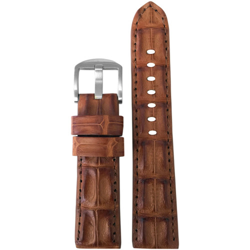 24mm XL Cognac Hornback Genuine Alligator Watch Strap with Match Stitching | Panatime.com