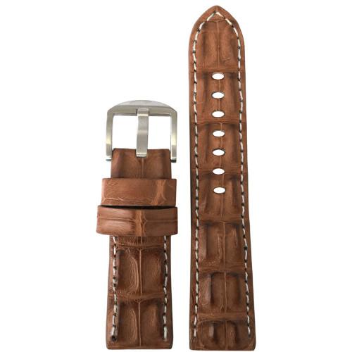 22mm XL Cognac Hornback Genuine Alligator Watch Strap with White Stitching   Panatime.com