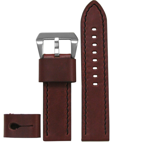 24mm XXL Brandy Explorer Edition Genuine Vintage Calf Leather Watch Strap with Black Stitching| Panatime.com