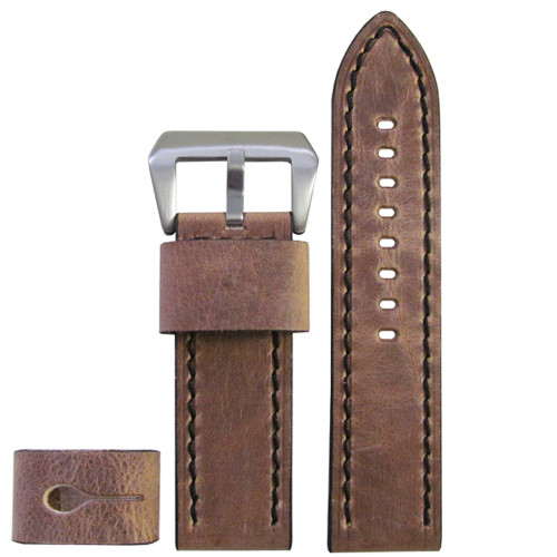 26mm XXL Distressed Oak Explorer Edition Genuine Vintage Calf Leather Watch Strap with Black Stitching| Panatime.com