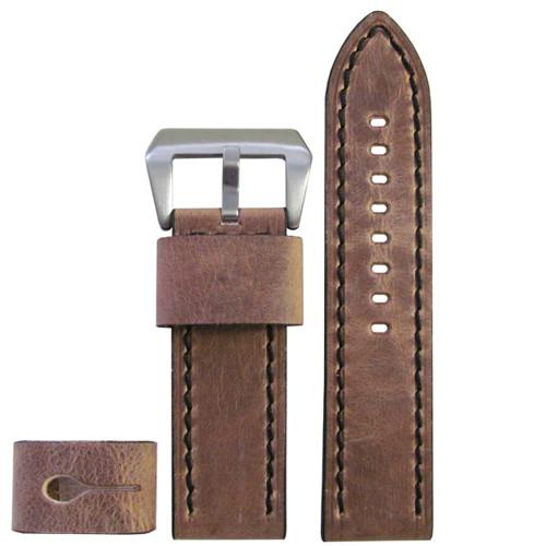 22mm XXL Distressed Oak Explorer Edition Genuine Vintage Calf Leather Watch Strap with Black Stitching| Panatime.com