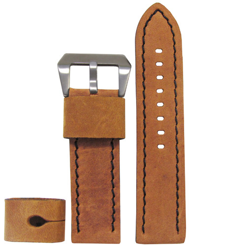 26mm XXL Honey Maple Explorer Edition Genuine Vintage Calf Leather Watch Strap with Black Stitching| Panatime.com