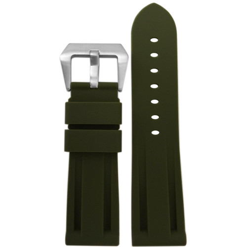 24mm Olive Original New Style Waterproof Rubber Diver Watch Strap For Panerai | Panatime.com