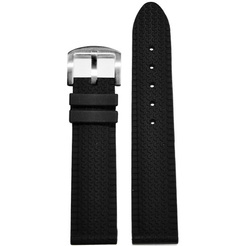 26mm Black Tire Track Waterproof Rubber Watch Strap | Panatime.com