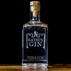 York Gin engraved bottle view from the front on a dark background.