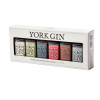 Box gift set of six York Gin miniature bottles - side view on white background