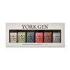 Box gift set of six York Gin miniature bottles - front view on white background