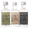 Three miniature bottles in the York Gin Classic Gold miniature collection - unboxed