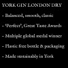 York Gin London Dry description - it's a classic  smooth, medal-winning gin made sustainably in York and its bottle and packaging are plastic free.