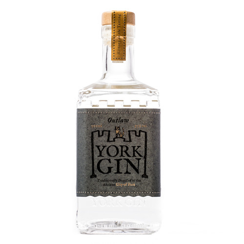 York Gin Outlaw Navy Strength 70cl bottle. Front view on white background. Winner Best English Navy Gin, World Gin Awards 2021.