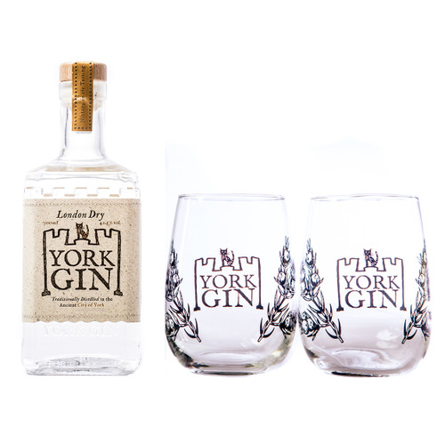 York Gin large bottle and pair of tumblers London Dry