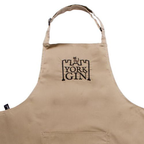 York Gin cotton apron stitched branding tan colour