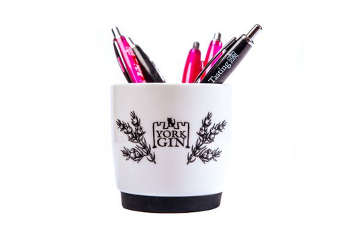 York Gin pens in a china mug