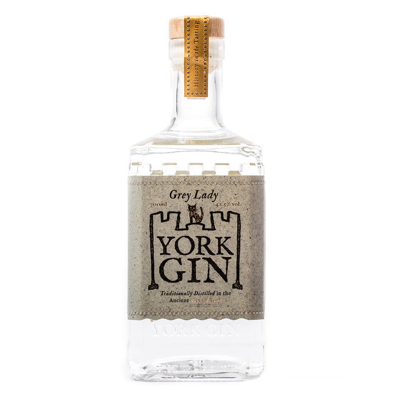 York Gin Grey Lady 70cl bottle. Front view on white background. Silver medal winner, NY Spirits Comp 2021.