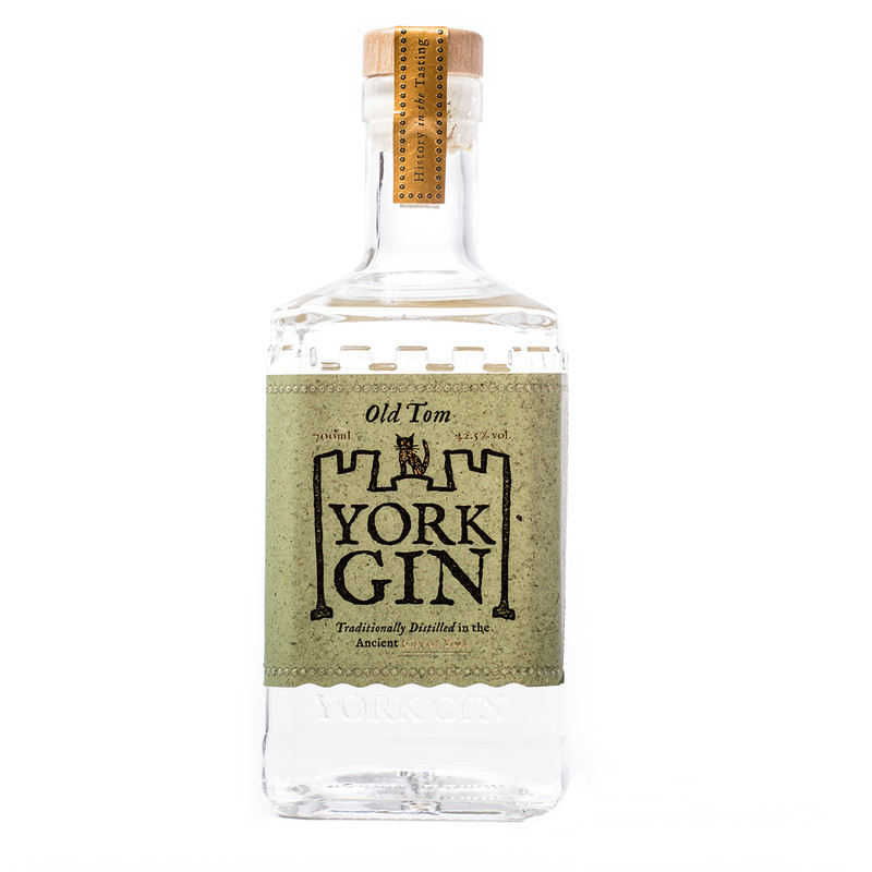 York Gin Old Tom 70cl bottle on white background. Multiple gold winner and Best English Old Tom at World Gin Awards 2020 & 2021