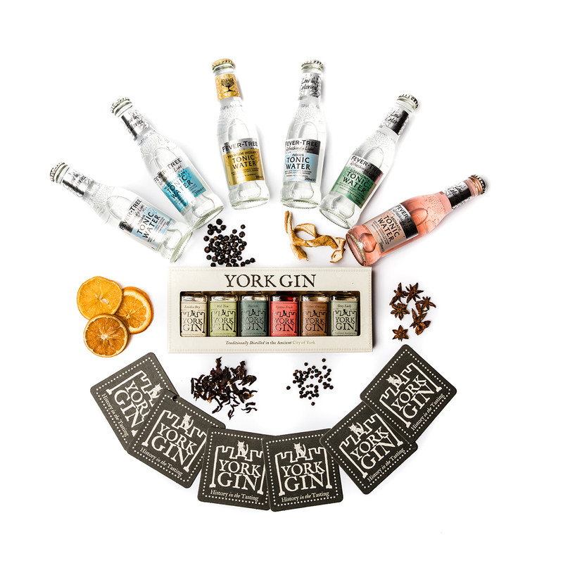 York Gin Tasting discovery box all 6 gins and mixers plus botanicals
