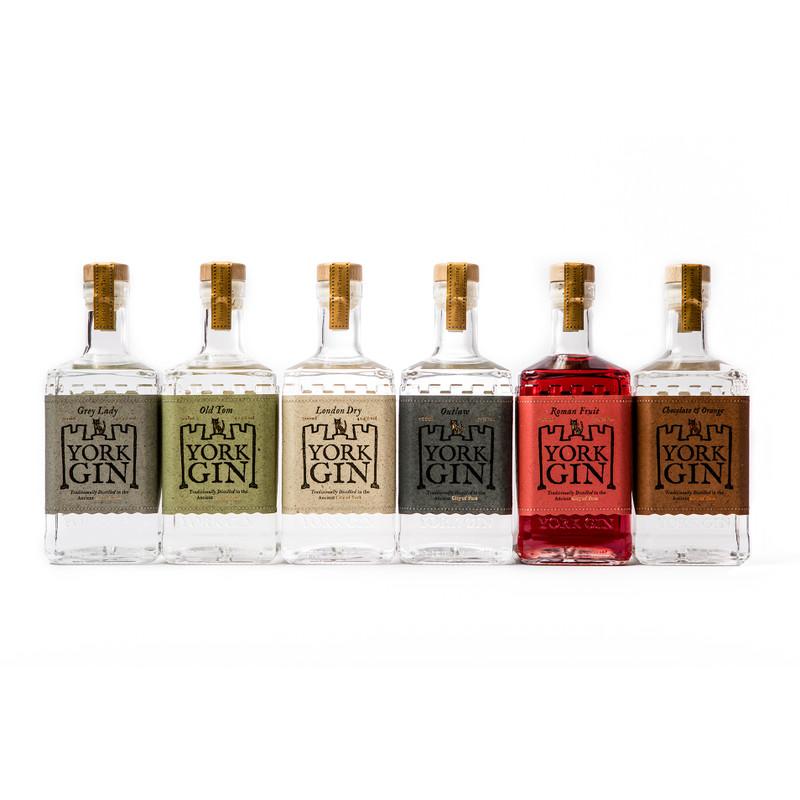 All six 70cl bottles of York Gin on a white background. The full range.