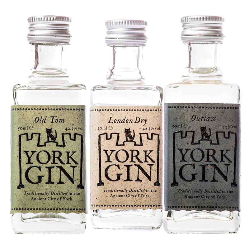 York Gin triple miniature gift set Classic gold