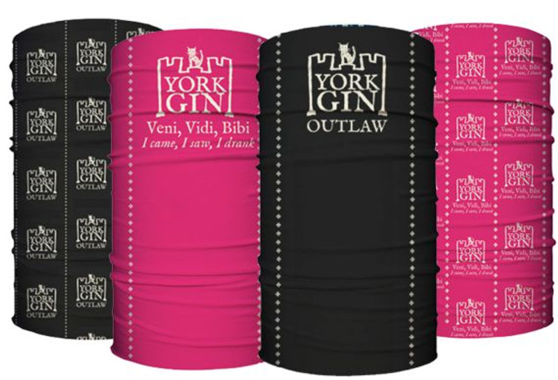York Gin Roman Fruit and Outlaw branded face coverings