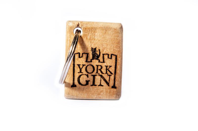 Wooden branded York Gin keyring