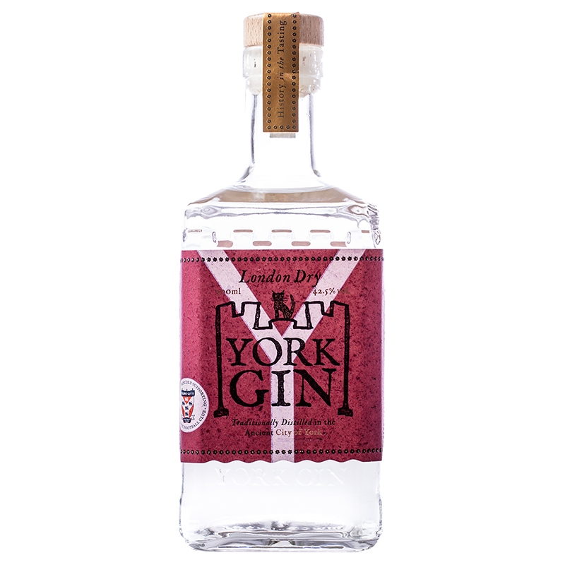 Bottle of York City FC Gin on a white background