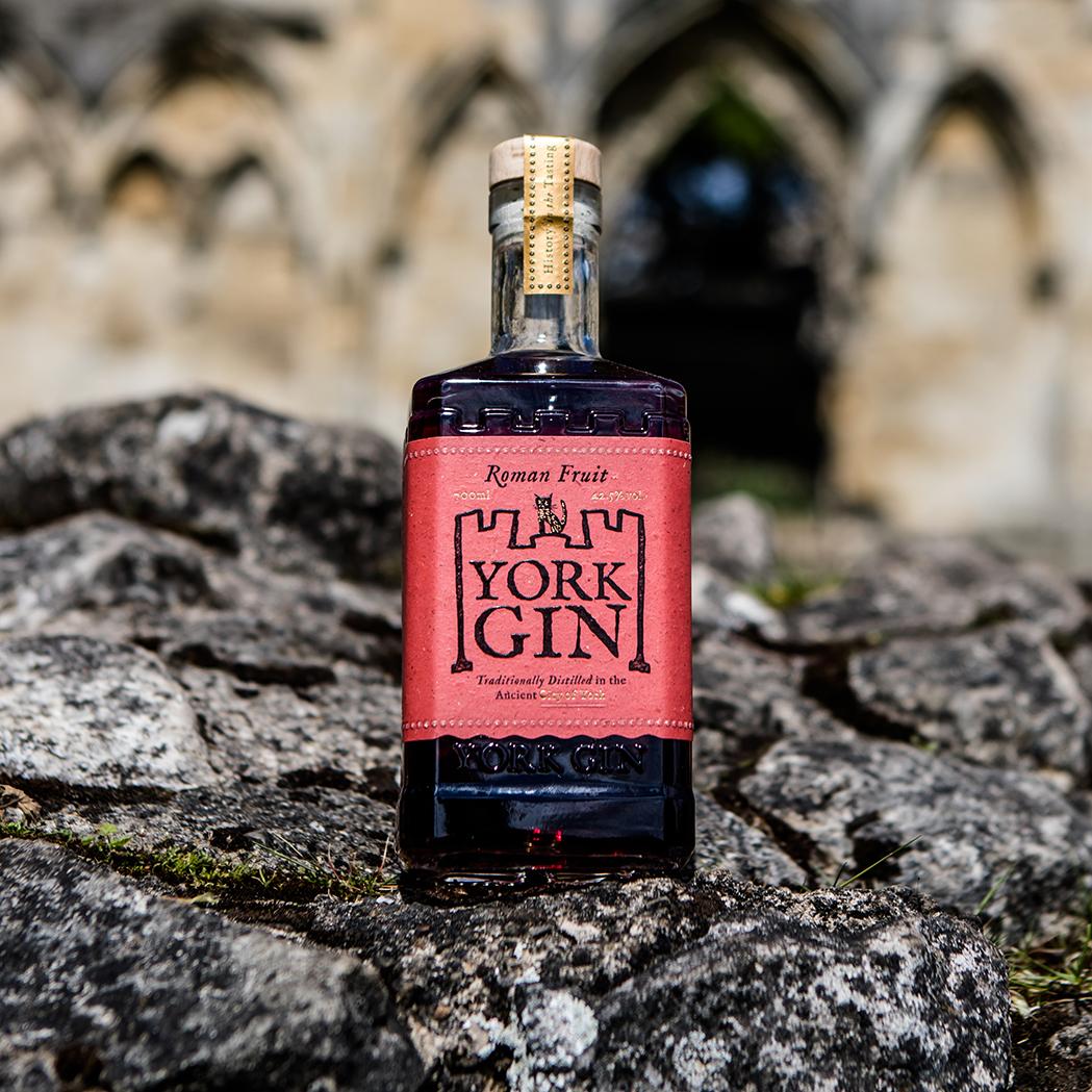 York Gin Roman Fruit in it's new more environmentally friendly bottle.