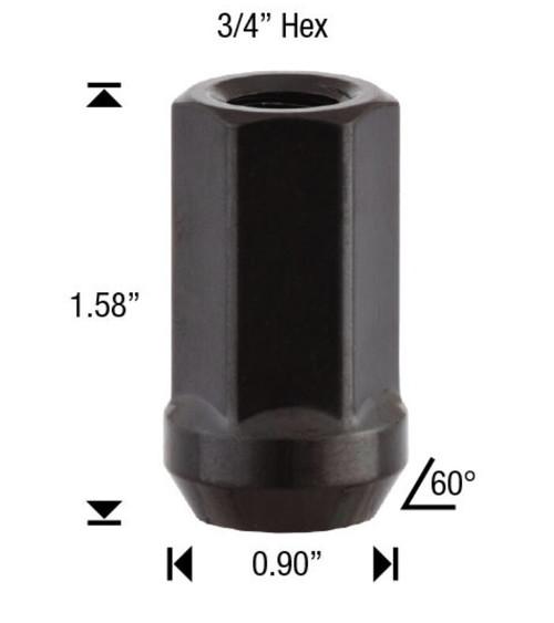 20 Pack - 9/16 Black Spike Lug Nuts 2-Piece Twist Off