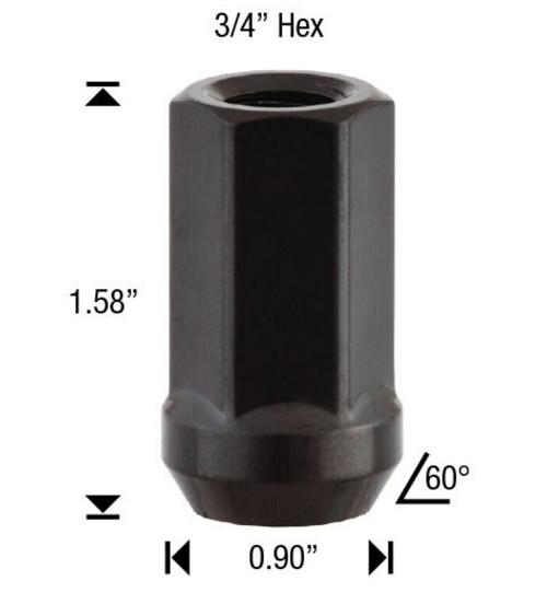 24 Pack - 9/16 Black Spike Lug Nuts 2-Piece Twist Off