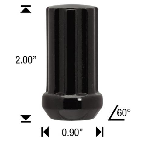 "1/2 Black 7 Spline Tuner Lug Nuts - 24 Pieces - 2"" Tall - Key Included"