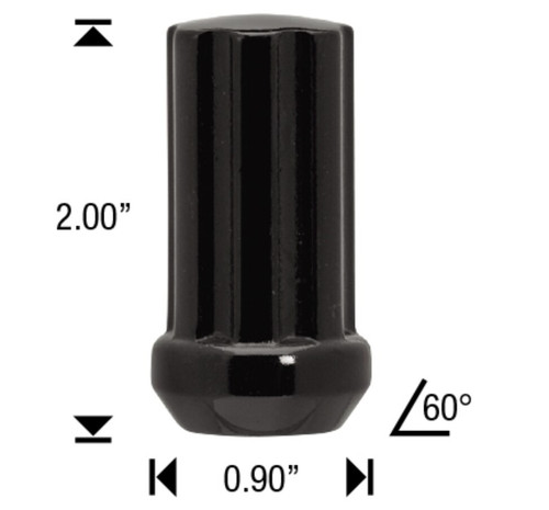 "12x1.5 Black 7 Spline Tuner Lug Nuts - 24 Pieces - 2"" Tall - Key Included"