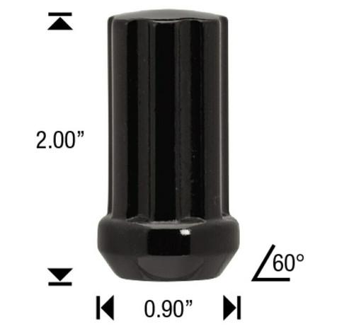 "9/16 Black 7 Spline Tuner Lug Nuts - 24 Pieces - 2"" Tall - Key Included"