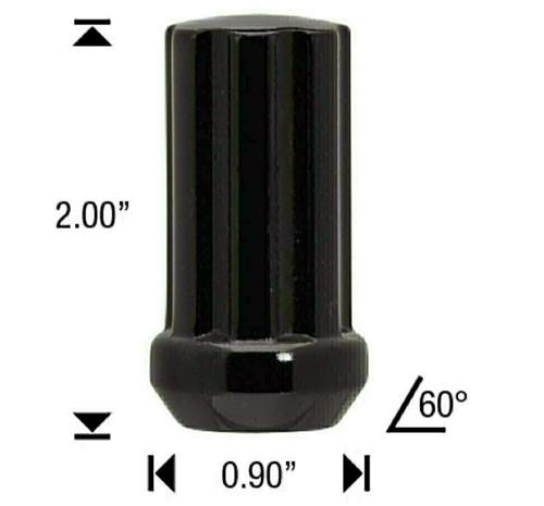 "12x1.75 Black 7 Spline Tuner Lug Nuts - 32 Pieces - 2"" Tall - Key Included - Install Kit"