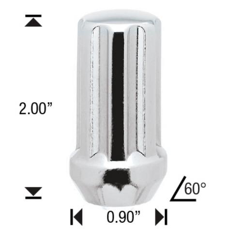 "1/2 Chrome 7 Spline Tuner Lug Nuts - 32 Pieces - 2"" Tall - Key Included - Install Kit"