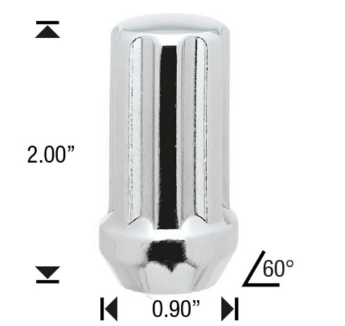 "14x1.5 Chrome 7 Spline Tuner Lug Nuts - 32 Pieces - 2"" Tall - Key Included - Install Kit"