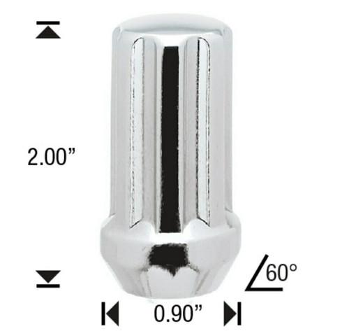 "9/16 Chrome 7 Spline Tuner Lug Nuts - 32 Pieces - 2"" Tall - Key Included - Install Kit"