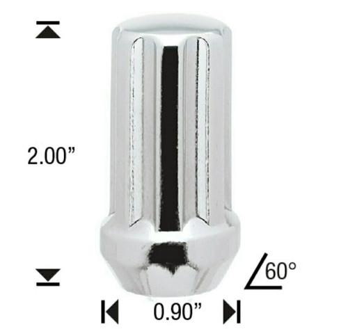 "12x1.75 Chrome 7 Spline Tuner Lug Nuts - 32 Pieces - 2"" Tall - Key Included - Install Kit"