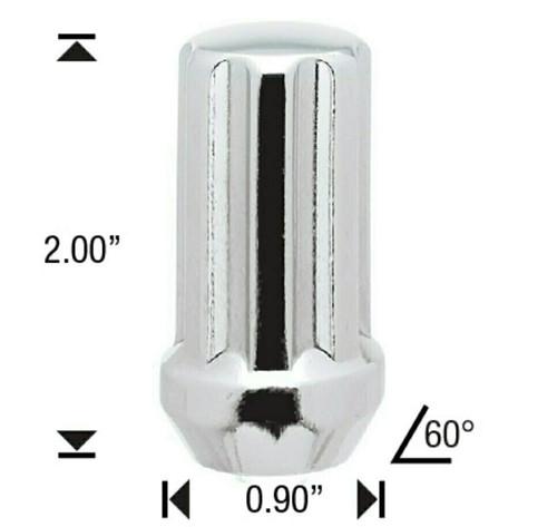 "14x2 Chrome 7 Spline Tuner Lug Nuts - 32 Pieces - 2"" Tall - Key Included - Install Kit"