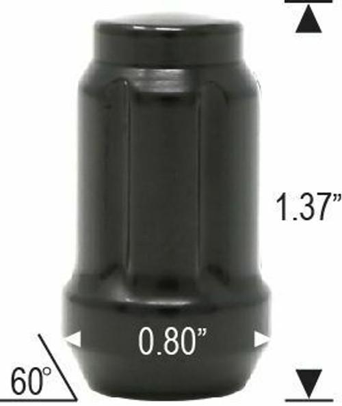 1/2 Spline Tuner Lug Nuts [Black] - 24 Pieces - Key Included - Installation Kit