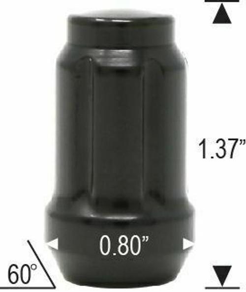 12x1.25 Spline Tuner Lug Nuts [Black] - 24 Pieces - Key Included - Installation Kit