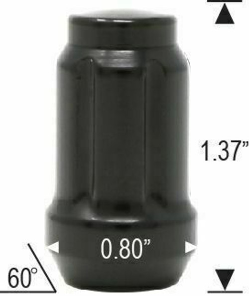 12x1.5 Spline Tuner Lug Nuts [Black] - 24 Pieces - Key Included - Installation Kit