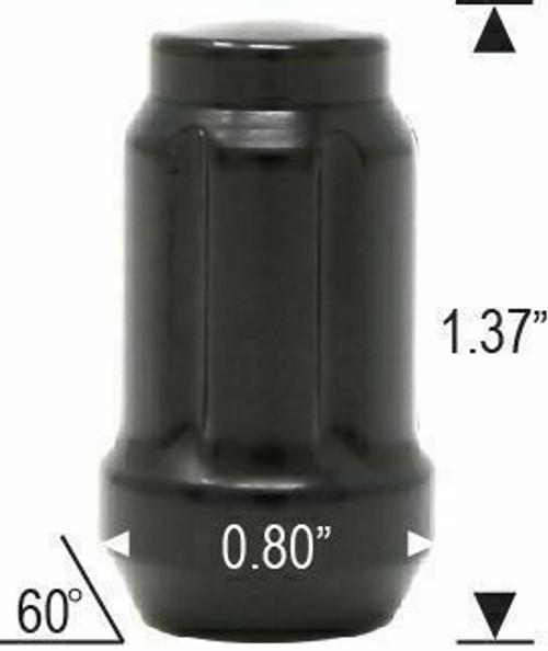 12x1.75 Spline Tuner Lug Nuts [Black] - 24 Pieces - Key Included - Installation Kit