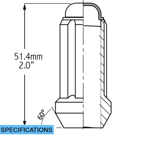 "1/2 Spline Tuner Lug Nuts [Black] - 2"" Tall - 6 Sided - 20 Pieces - Key Included"