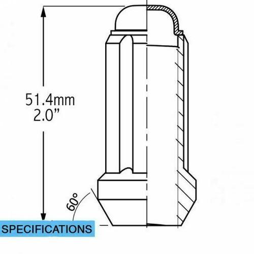 "12x1.75 Spline Tuner Lug Nuts [Black] - 2"" Tall - 6 Sided - 24 Pieces - Key Included"