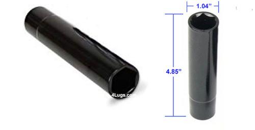 "1/2 Chrome Duplex Hex Spike Lug Nuts 4.4"" Tall - 20 Pieces - Key Included"