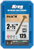 "Kreg HD WR Protec-Kote Pocket Screws - 2-1/2"", #14 Coarse, Washer-Head, 125 Count (SML-C2X250-125)"